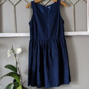 Old Navy blue Eyelet Fit and Flare dress size 4